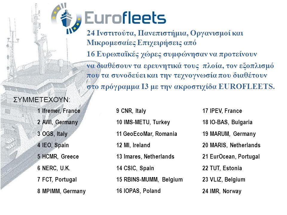 24 Ινστιτούτα, Πανεπιστήμια, Οργανισμοί και Μικρομεσαίες Επιχειρήσεις από 16 Ευρωπαϊκές χώρες συμφώνησαν να προτείνουν να διαθέσουν τα ερευνητικά τους πλοία, τον εξοπλισμό που τα συνοδεύει και την τεχνογνωσία που διαθέτουν στο πρόγραμμα I3 με την ακροστιχίδα EUROFLEETS.