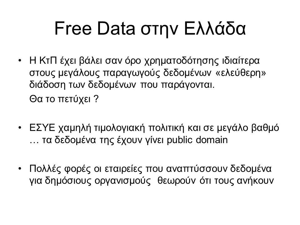 Free Data στην Ελλάδα •Η ΚτΠ έχει βάλει σαν όρο χρηματοδότησης ιδιαίτερα στους μεγάλους παραγωγούς δεδομένων «ελεύθερη» διάδοση των δεδομένων που παρά