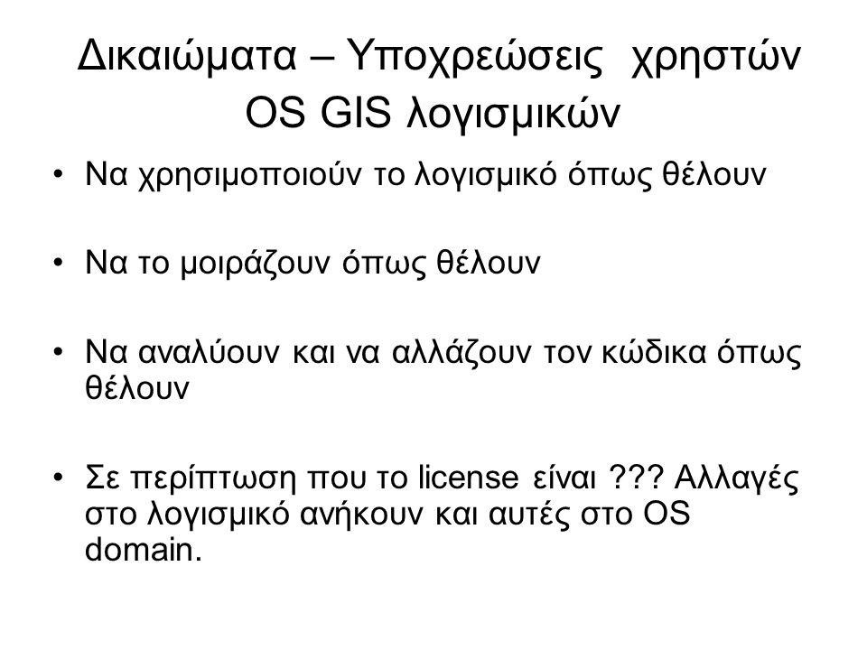 Δικαιώματα – Υποχρεώσεις χρηστών OS GIS λογισμικών •Να χρησιμοποιούν το λογισμικό όπως θέλουν •Να το μοιράζουν όπως θέλουν •Να αναλύουν και να αλλάζου