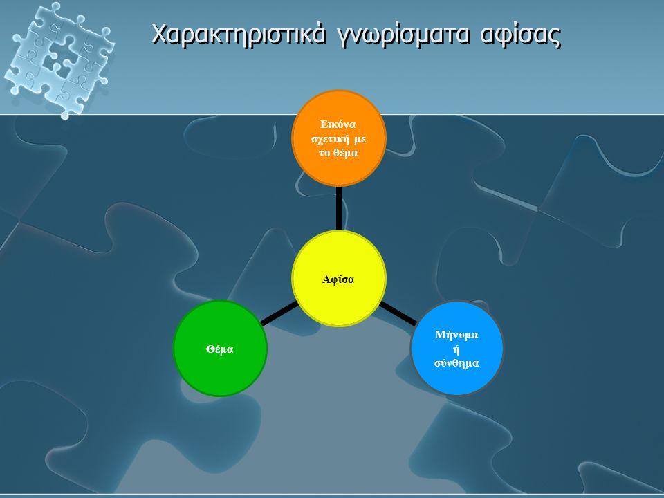 Χαρακτηριστικά γνωρίσματα αφίσας Αφίσα Εικόνα σχετική με το θέμα Μήνυμα ή σύνθημα Θέμα