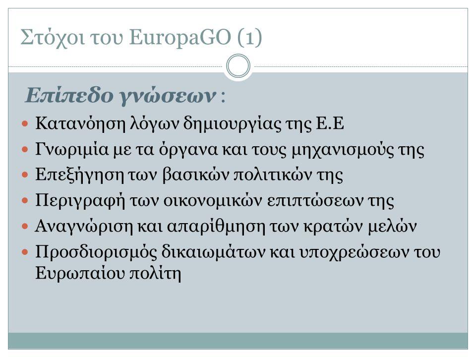 Στόχοι του EuropaGO (1) Επίπεδο γνώσεων :  Κατανόηση λόγων δημιουργίας της Ε.Ε  Γνωριμία με τα όργανα και τους μηχανισμούς της  Επεξήγηση των βασικ