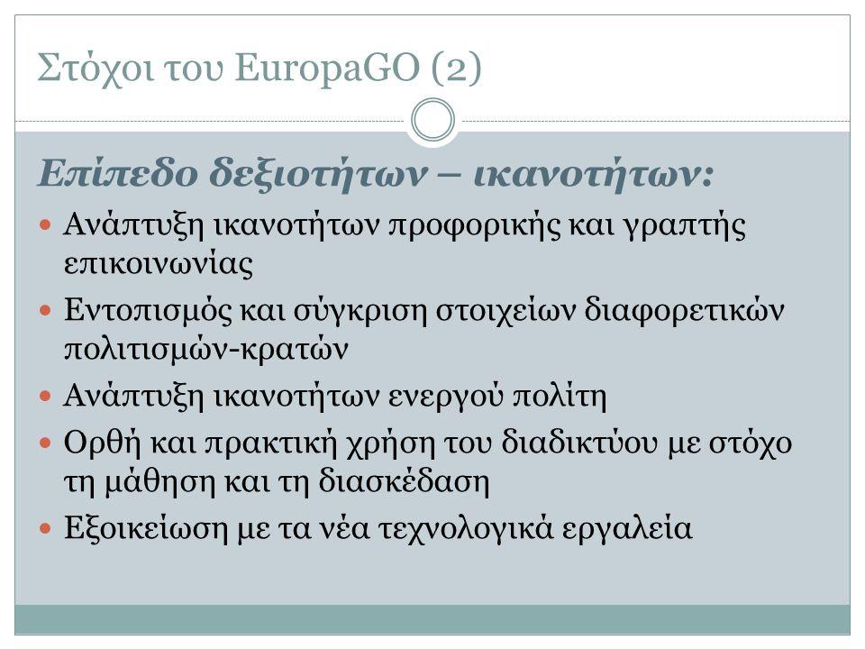 Στόχοι του EuropaGO (3) Επίπεδο Στάσεων:  Κατανόηση και αξιολόγηση της σημασίας της Ε.Ε  Αποδοχή και υπεράσπιση της διαφορετικότητας  Αποδοχή της σπουδαιότητας κάθε κράτους μέλους, της συνύπαρξης και συνεργασίας των πολιτών  Συμμετοχή σε διακρατικές συνεργασίες και στα κοινά  Ανάπτυξη στοιχείων αλληλεγγύης  Υπεράσπιση του δικαιώματος του δημοκρατικού διαλόγου
