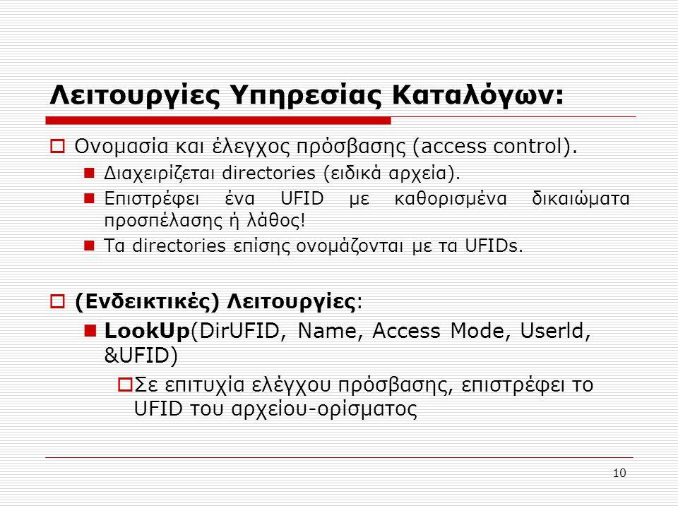 10 Λειτουργίες Υπηρεσίας Καταλόγων:  Ονομασία και έλεγχος πρόσβασης (access control).  Διαχειρίζεται directories (ειδικά αρχεία).  Επιστρέφει ένα U