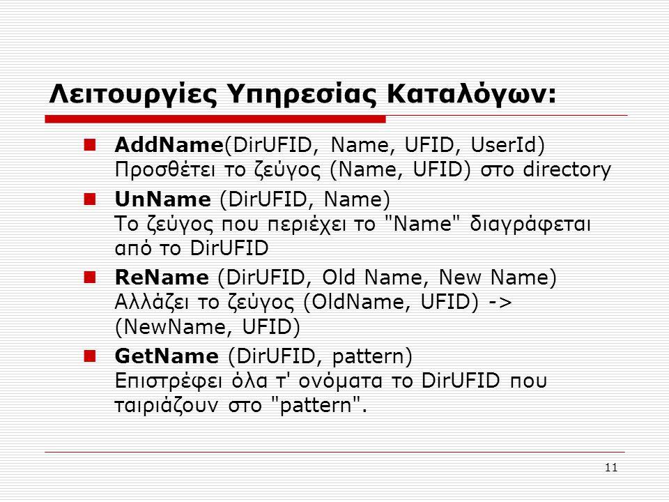 11 Λειτουργίες Υπηρεσίας Καταλόγων:  AddName(DirUFID, Name, UFID, UserId) Προσθέτει το ζεύγος (Name, UFID) στο directory  UnName (DirUFID, Name) Το