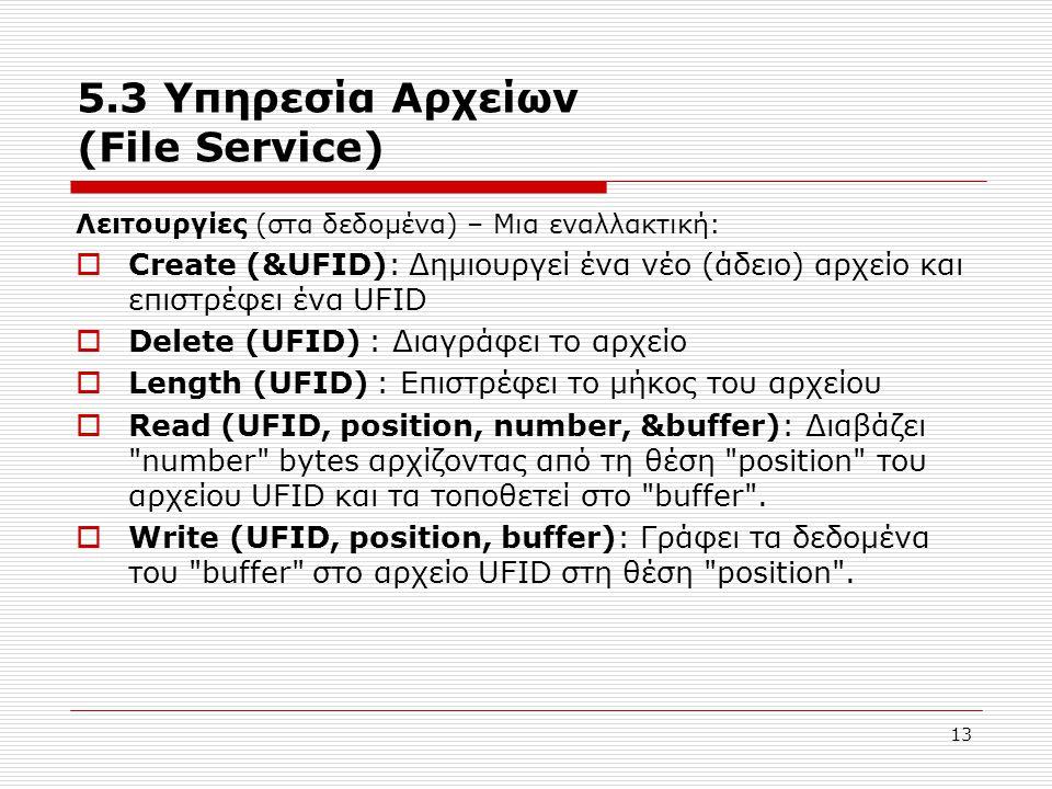 13 5.3 Υπηρεσία Αρχείων (File Service) Λειτουργίες (στα δεδομένα) – Μια εναλλακτική:  Create (&UFID): Δημιουργεί ένα νέο (άδειο) αρχείο και επιστρέφε