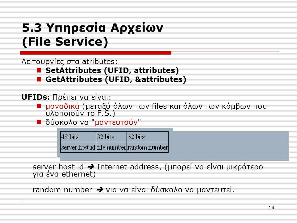 14 5.3 Υπηρεσία Αρχείων (File Service) Λειτουργίες στα atributes:  SetAttributes (UFID, attributes)  GetAttributes (UFID, &attributes) UFIDs: Πρέπει