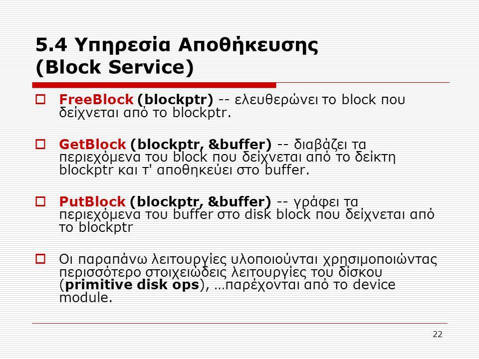 22 5.4 Υπηρεσία Αποθήκευσης (Block Service)  FreeBlock (blockptr) -- ελευθερώνει το block που δείχνεται από το blockptr.  GetBlock (blockptr, &buffe