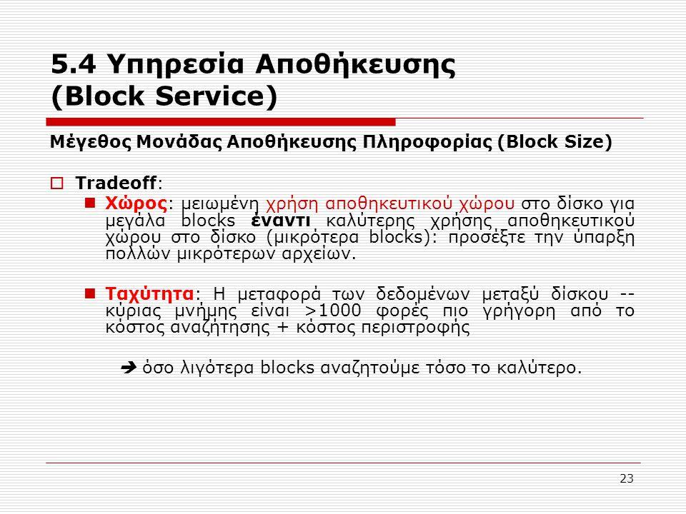 23 5.4 Υπηρεσία Αποθήκευσης (Block Service) Μέγεθος Μονάδας Αποθήκευσης Πληροφορίας (Block Size)  Tradeoff:  Χώρος: μειωμένη χρήση αποθηκευτικού χώρ