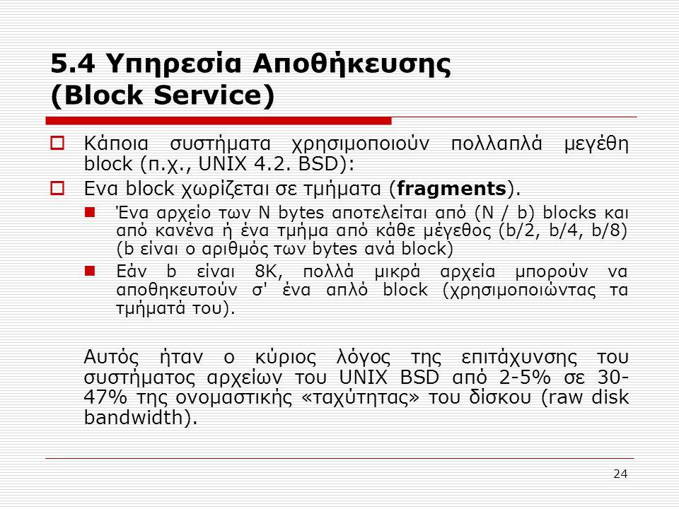 24 5.4 Υπηρεσία Αποθήκευσης (Block Service)  Κάποια συστήματα χρησιμοποιούν πολλαπλά μεγέθη block (π.χ., UNIX 4.2. BSD):  Eνα block χωρίζεται σε τμή