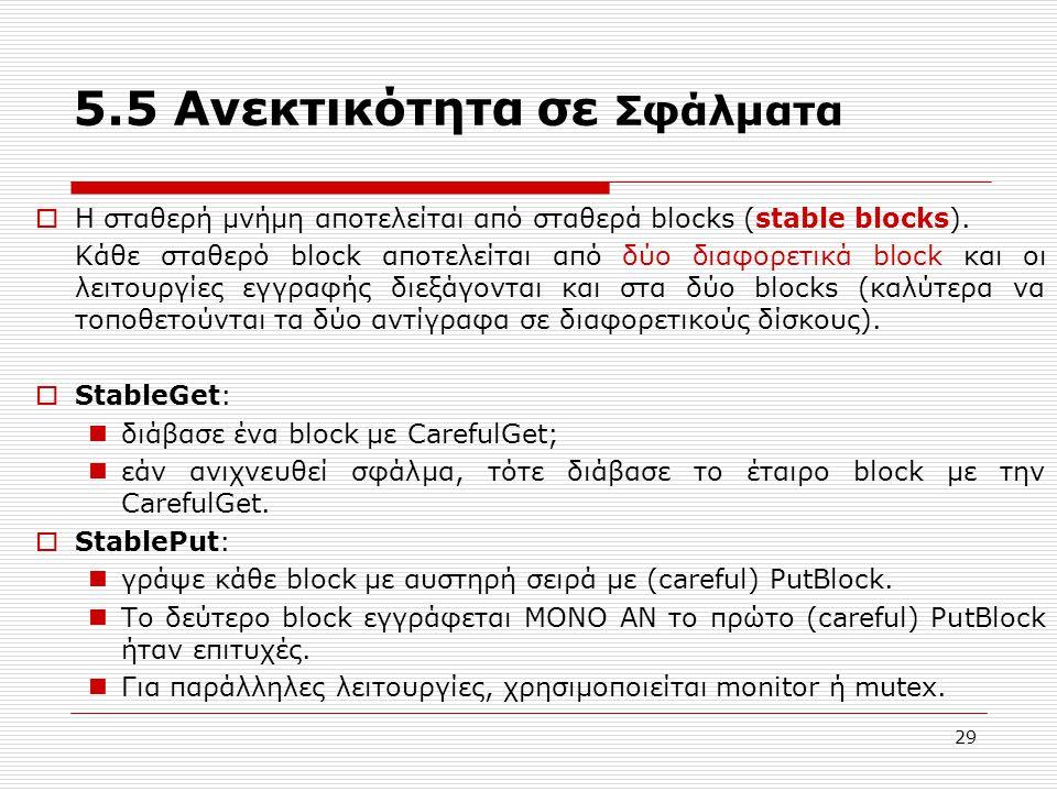 29 5.5 Ανεκτικότητα σε Σφάλματα  Η σταθερή μνήμη αποτελείται από σταθερά blocks (stable blocks). Κάθε σταθερό block αποτελείται από δύο διαφορετικά b