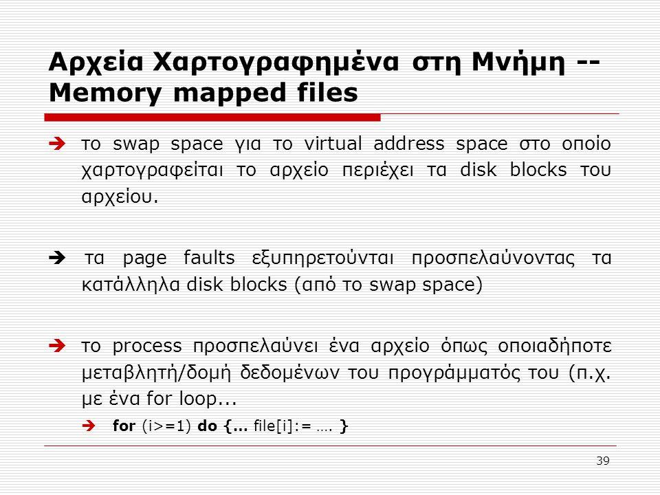39 Αρχεία Χαρτογραφημένα στη Μνήμη -- Memory mapped files  το swap space για το virtual address space στο οποίο χαρτογραφείται το αρχείο περιέχει τα