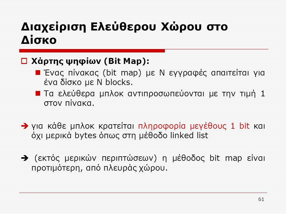 61 Διαχείριση Ελεύθερου Χώρου στο Δίσκο  Χάρτης ψηφίων (Bit Map):  Ένας πίνακας (bit map) με Ν εγγραφές απαιτείται για ένα δίσκο με N blocks.  Τα ε