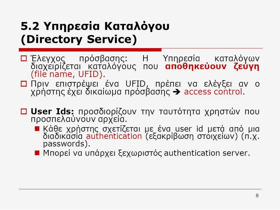 9 5.2 Υπηρεσία Καταλόγου (Directory Service)  Access Controll Lists (ACLs) Επίσης ομάδες χρηστών (με ομαδικά δικαιώματα πρόσβασης) μπορούν να δημιουργηθούν Σύνοψη:  Δεδομένου ενός user id και ενός ονόματος αρχείου ο dir.