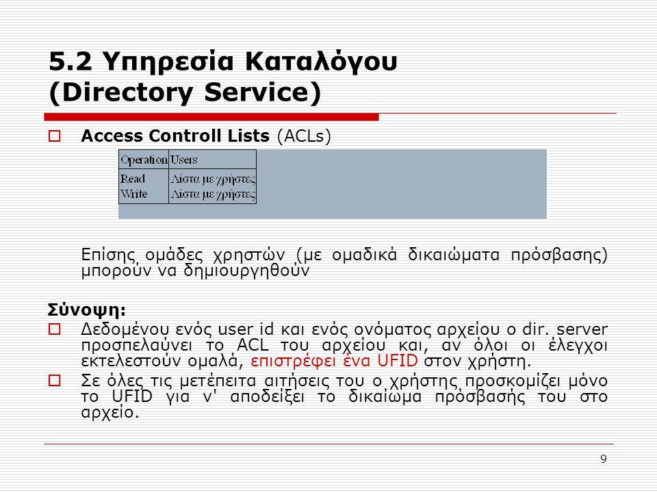 9 5.2 Υπηρεσία Καταλόγου (Directory Service)  Access Controll Lists (ACLs) Επίσης ομάδες χρηστών (με ομαδικά δικαιώματα πρόσβασης) μπορούν να δημιουρ