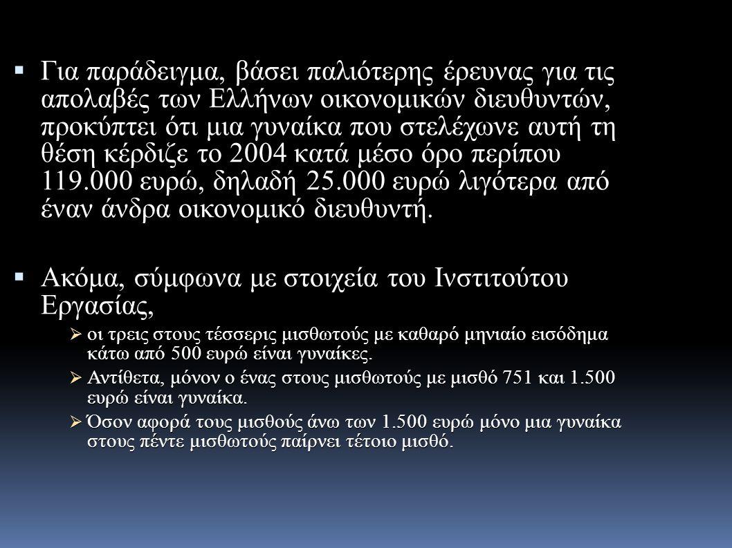  Για παράδειγμα, βάσει παλιότερης έρευνας για τις απολαβές των Ελλήνων οικονομικών διευθυντών, προκύπτει ότι μια γυναίκα που στελέχωνε αυτή τη θέση κέρδιζε το 2004 κατά μέσο όρο περίπου 119.000 ευρώ, δηλαδή 25.000 ευρώ λιγότερα από έναν άνδρα οικονομικό διευθυντή.