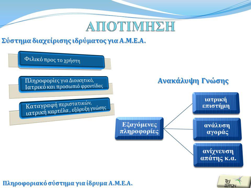 Ανακάλυψη Γνώσης Πληροφοριακό σύστημα για ίδρυμα Α.Μ.Ε.Α.