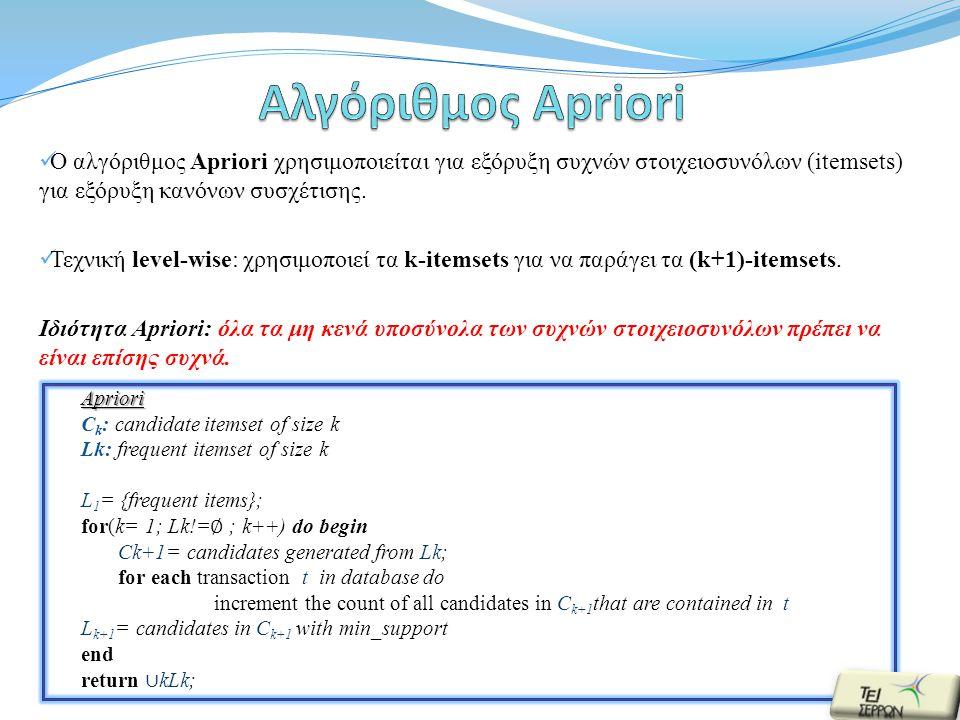  Ο αλγόριθμος Apriori χρησιμοποιείται για εξόρυξη συχνών στοιχειοσυνόλων (itemsets) για εξόρυξη κανόνων συσχέτισης.