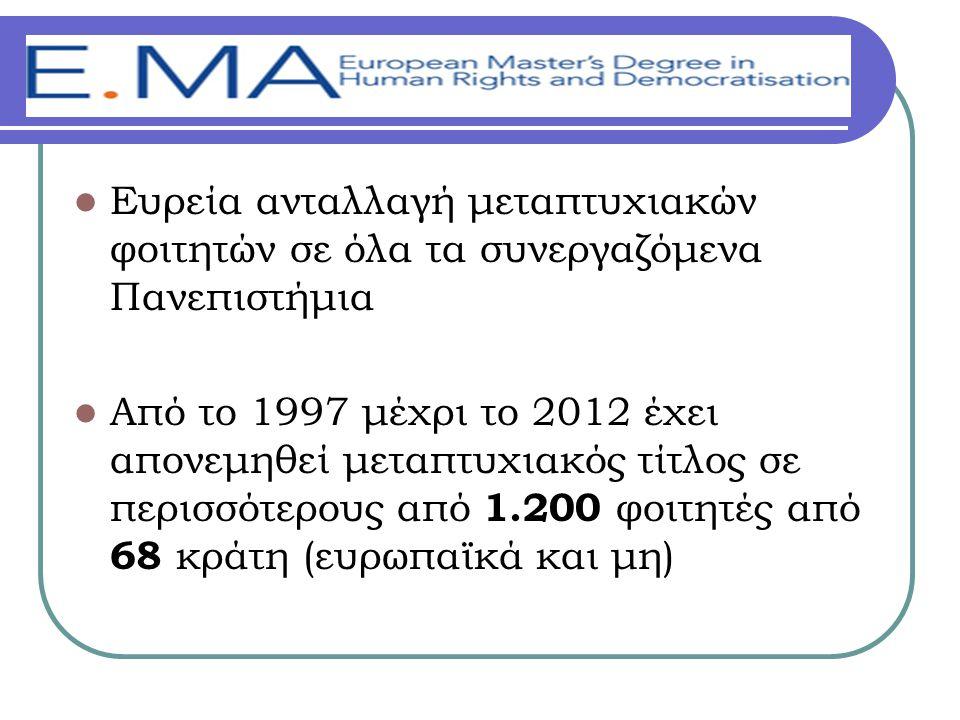  Ευρεία ανταλλαγή μεταπτυχιακών φοιτητών σε όλα τα συνεργαζόμενα Πανεπιστήμια  Από το 1997 μέχρι το 2012 έχει απονεμηθεί μεταπτυχιακός τίτλος σε περισσότερους από 1.200 φοιτητές από 68 κράτη (ευρωπαϊκά και μη)