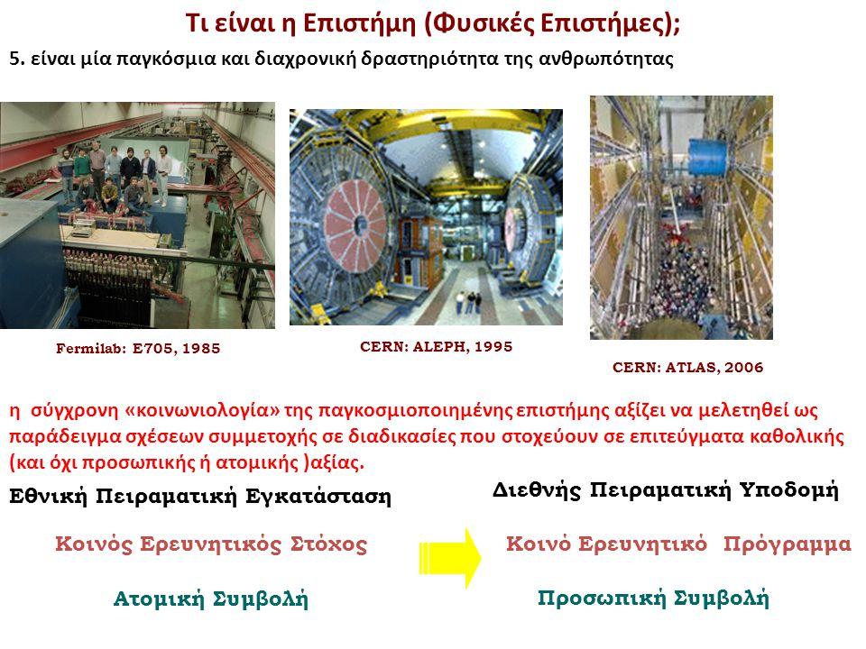 Fermilab: E705, 1985 CERN: ALEPH, 1995 CERN: ATLAS, 2006 Τι είναι η Επιστήμη (Φυσικές Επιστήμες); 5. είναι μία παγκόσμια και διαχρονική δραστηριότητα