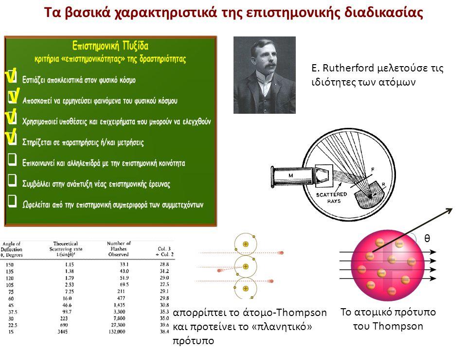 Τα βασικά χαρακτηριστικά της επιστημονικής διαδικασίας E. Rutherford μελετούσε τις ιδιότητες των ατόμων √ √ √ Το ατομικό πρότυπο του Thompson √ θ απορ