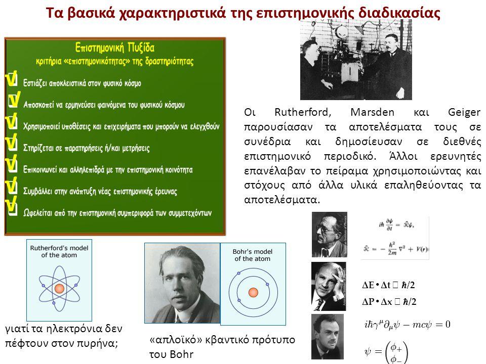 √ √ √ √ Τα βασικά χαρακτηριστικά της επιστημονικής διαδικασίας Οι Rutherford, Marsden και Geiger παρουσίασαν τα αποτελέσματα τους σε συνέδρια και δημο