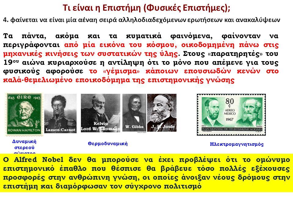 Lazare Carnot Kelvin Lord W. Thomson W. Gibbs J. P. Joule Θερμοδυναμική Δυναμική στερεού σώματος Ηλεκτρομαγνητισμός Τι είναι η Επιστήμη (Φυσικές Επιστ