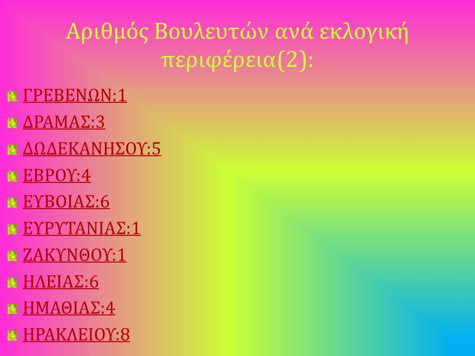 Αριθμός Βουλευτών ανά εκλογική περιφέρεια(2): ΓΡΕΒΕΝΩΝ:1 ΔΡΑΜΑΣ:3 ΔΩΔΕΚΑΝΗΣΟΥ:5 ΕΒΡΟΥ:4 ΕΥΒΟΙΑΣ:6 ΕΥΡΥΤΑΝΙΑΣ:1 ΖΑΚΥΝΘΟΥ:1 ΗΛΕΙΑΣ:6 ΗΜΑΘΙΑΣ:4 ΗΡΑΚΛΕΙΟΥ