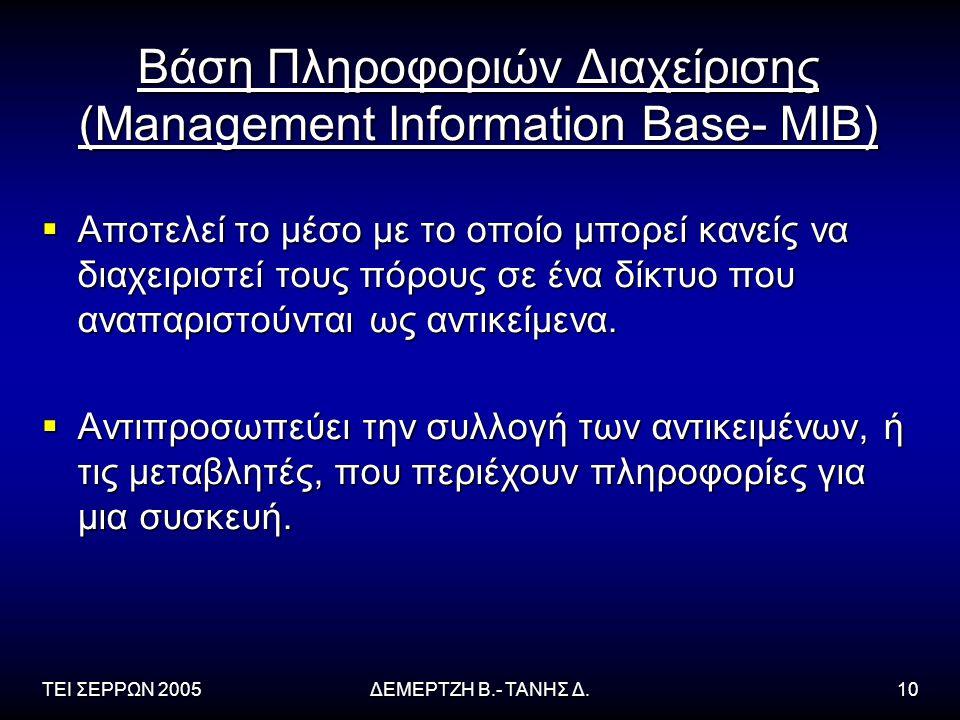 ΤΕΙ ΣΕΡΡΩΝ 2005ΔΕΜΕΡΤΖΗ Β.- ΤΑΝΗΣ Δ.10 Βάση Πληροφοριών Διαχείρισης (Management Information Base- MIB)  Αποτελεί το μέσο με το οποίο μπορεί κανείς να διαχειριστεί τους πόρους σε ένα δίκτυο που αναπαριστούνται ως αντικείμενα.