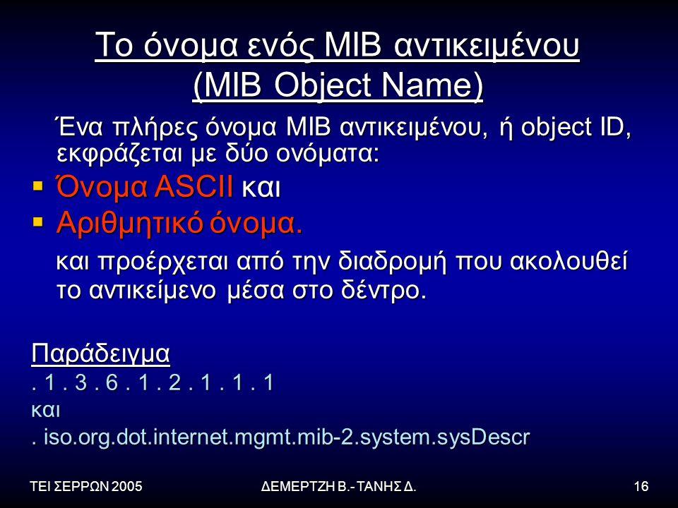 ΤΕΙ ΣΕΡΡΩΝ 2005ΔΕΜΕΡΤΖΗ Β.- ΤΑΝΗΣ Δ.16 Το όνομα ενός ΜΙΒ αντικειμένου (MIB Object Name) Ένα πλήρες όνομα ΜΙΒ αντικειμένου, ή object ID, εκφράζεται με δύο ονόματα: Ένα πλήρες όνομα ΜΙΒ αντικειμένου, ή object ID, εκφράζεται με δύο ονόματα:  Όνομα ASCII και  Αριθμητικό όνομα.