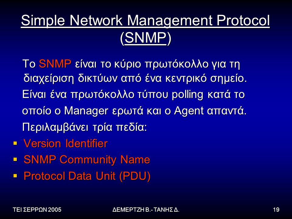ΤΕΙ ΣΕΡΡΩΝ 2005ΔΕΜΕΡΤΖΗ Β.- ΤΑΝΗΣ Δ.19 Simple Network Management Protocol (SNMP) Το SNMP είναι το κύριο πρωτόκολλο για τη διαχείριση δικτύων από ένα κεντρικό σημείο.