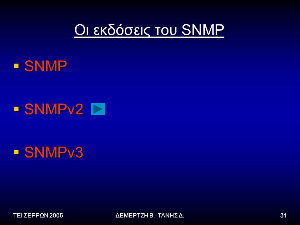 ΤΕΙ ΣΕΡΡΩΝ 2005ΔΕΜΕΡΤΖΗ Β.- ΤΑΝΗΣ Δ.31 Οι εκδόσεις του SNMP  SNMP  SNMPv2  SNMPv3