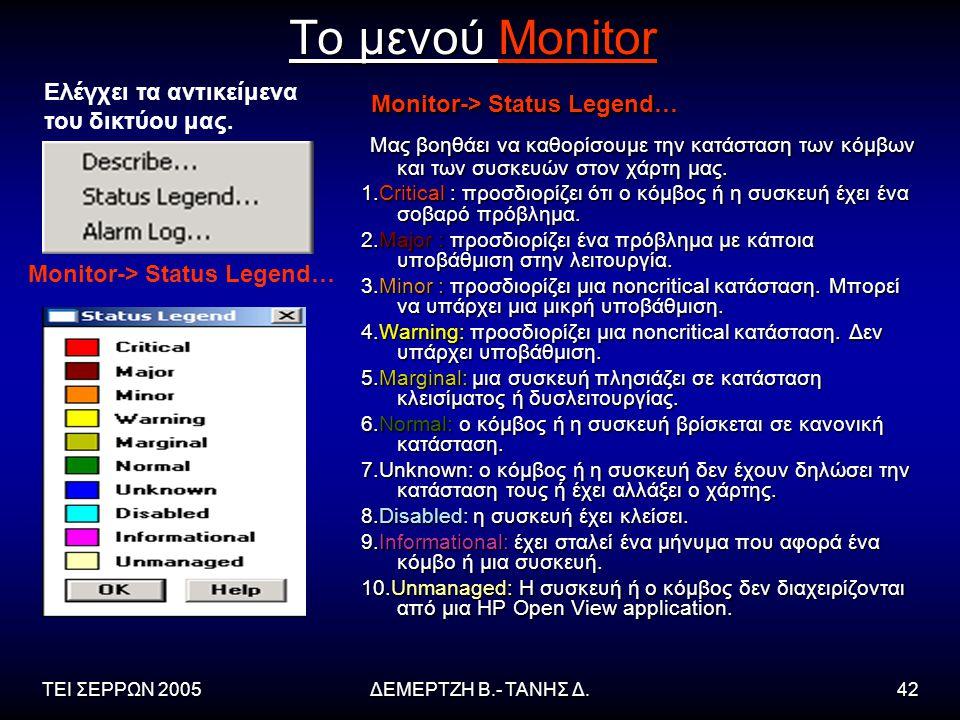 ΤΕΙ ΣΕΡΡΩΝ 2005ΔΕΜΕΡΤΖΗ Β.- ΤΑΝΗΣ Δ.42 Το μενού Monitor Monitor-> Status Legend… Monitor-> Status Legend… Μας βοηθάει να καθορίσουμε την κατάσταση των κόμβων και των συσκευών στον χάρτη μας.