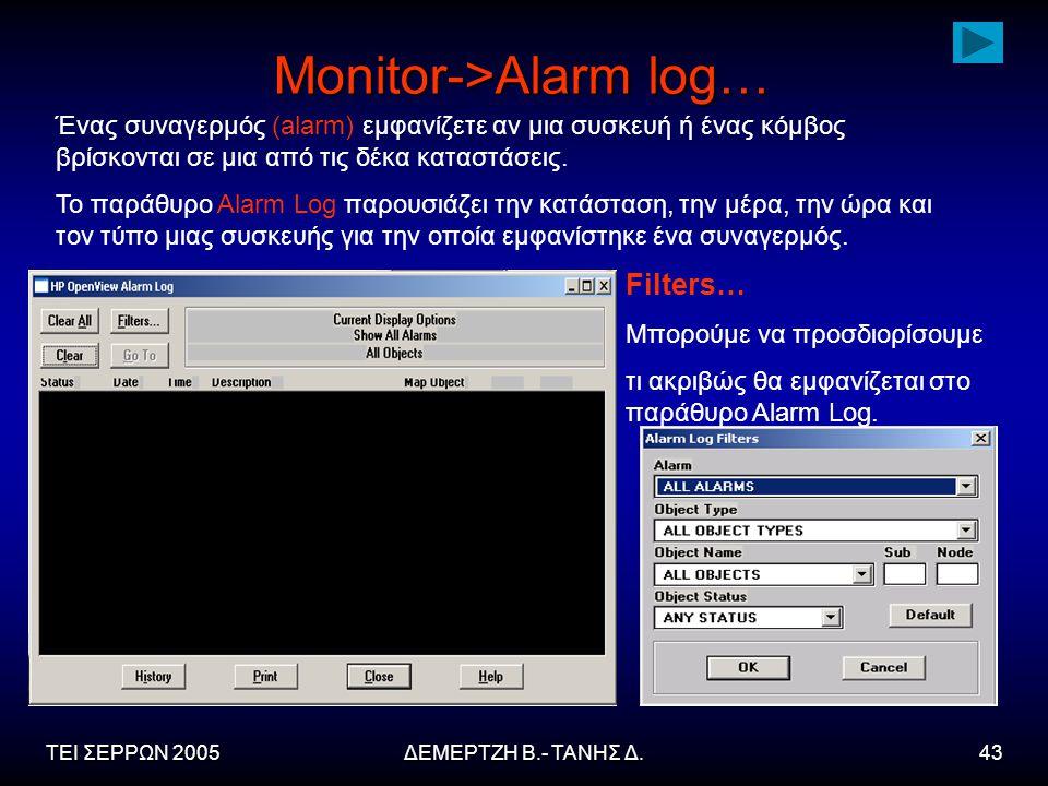 ΤΕΙ ΣΕΡΡΩΝ 2005ΔΕΜΕΡΤΖΗ Β.- ΤΑΝΗΣ Δ.43 Monitor->Alarm log… Ένας συναγερμός (alarm) εμφανίζετε αν μια συσκευή ή ένας κόμβος βρίσκονται σε μια από τις δέκα καταστάσεις.