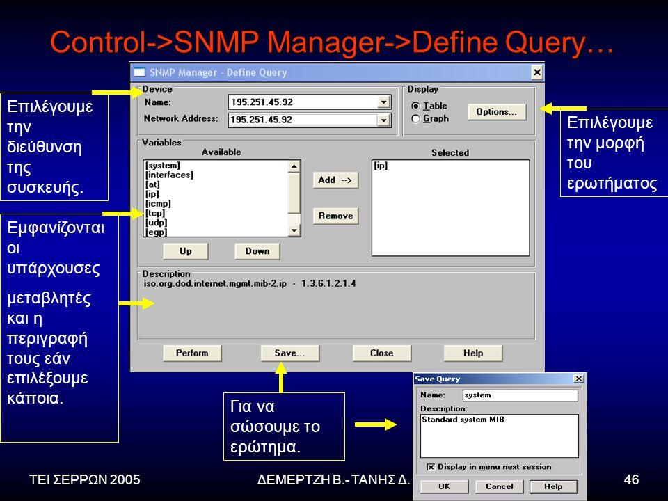 ΤΕΙ ΣΕΡΡΩΝ 2005ΔΕΜΕΡΤΖΗ Β.- ΤΑΝΗΣ Δ.46 Control->SNMP Manager->Define Query… Επιλέγουμε την διεύθυνση της συσκευής.