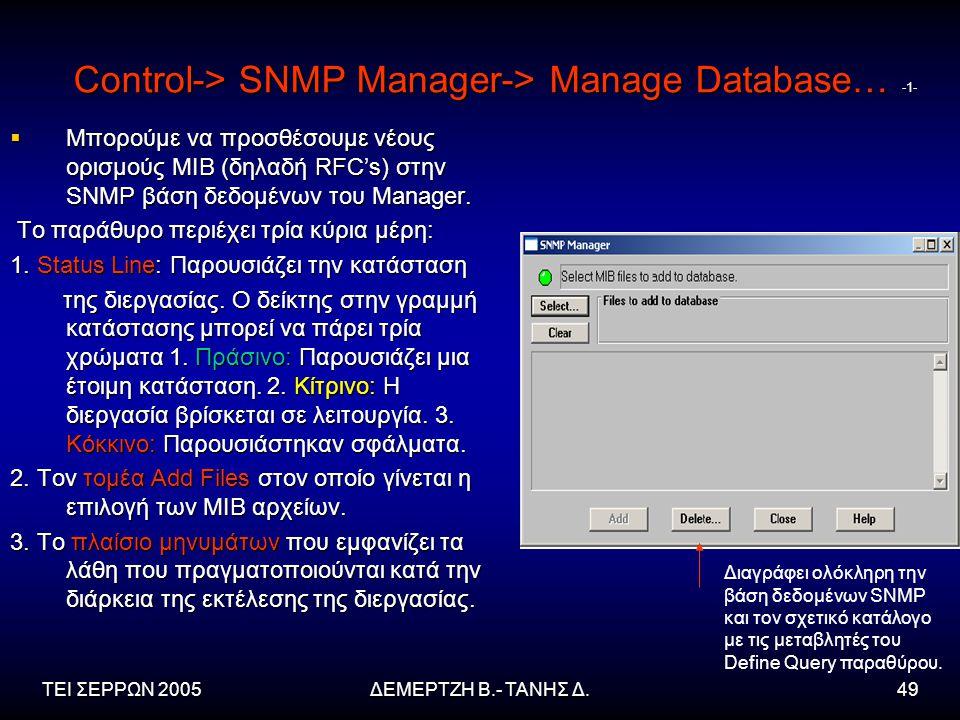 ΤΕΙ ΣΕΡΡΩΝ 2005ΔΕΜΕΡΤΖΗ Β.- ΤΑΝΗΣ Δ.49 Control-> SNMP Manager-> Manage Database… -1-  Μπορούμε να προσθέσουμε νέους ορισμούς MIB (δηλαδή RFC's) στην SNMP βάση δεδομένων του Manager.