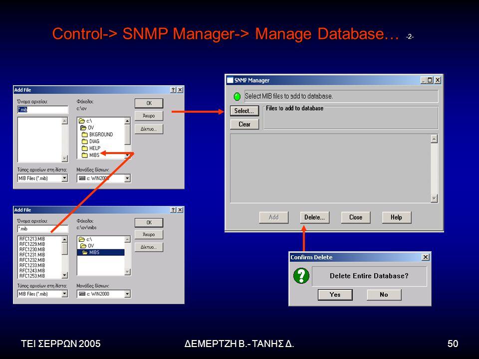 ΤΕΙ ΣΕΡΡΩΝ 2005ΔΕΜΕΡΤΖΗ Β.- ΤΑΝΗΣ Δ.50 Control-> SNMP Manager-> Manage Database… -2-