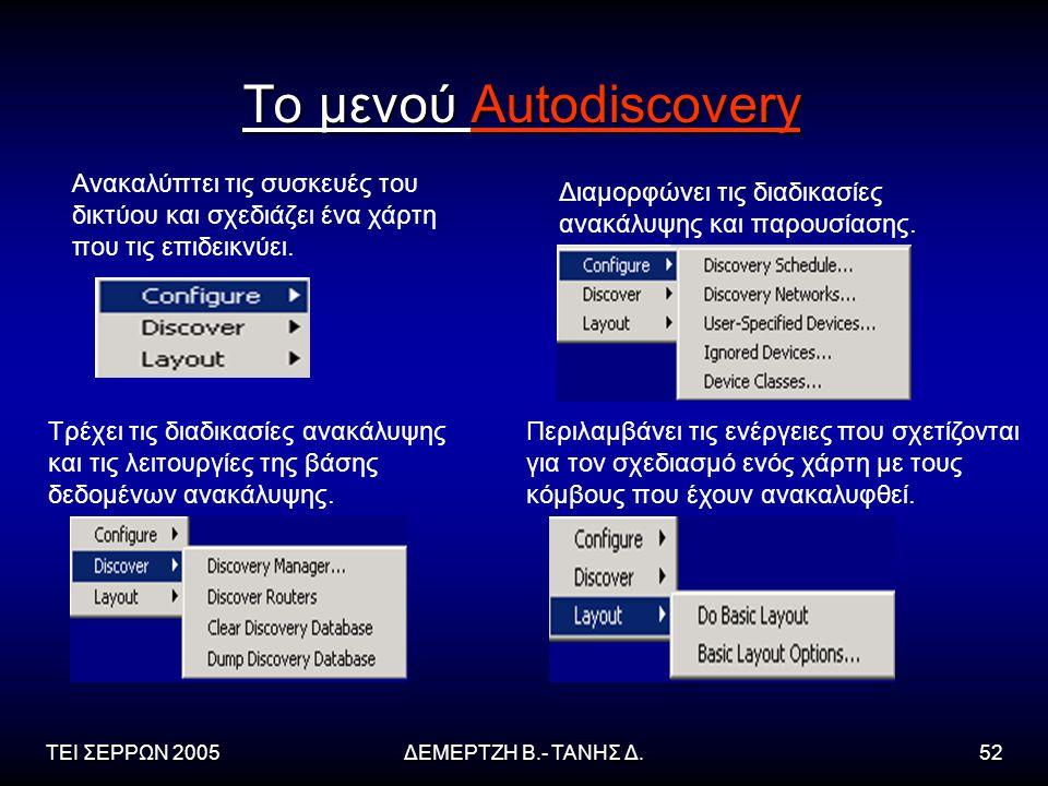 ΤΕΙ ΣΕΡΡΩΝ 2005ΔΕΜΕΡΤΖΗ Β.- ΤΑΝΗΣ Δ.52 Το μενού Autodiscovery Ανακαλύπτει τις συσκευές του δικτύου και σχεδιάζει ένα χάρτη που τις επιδεικνύει.