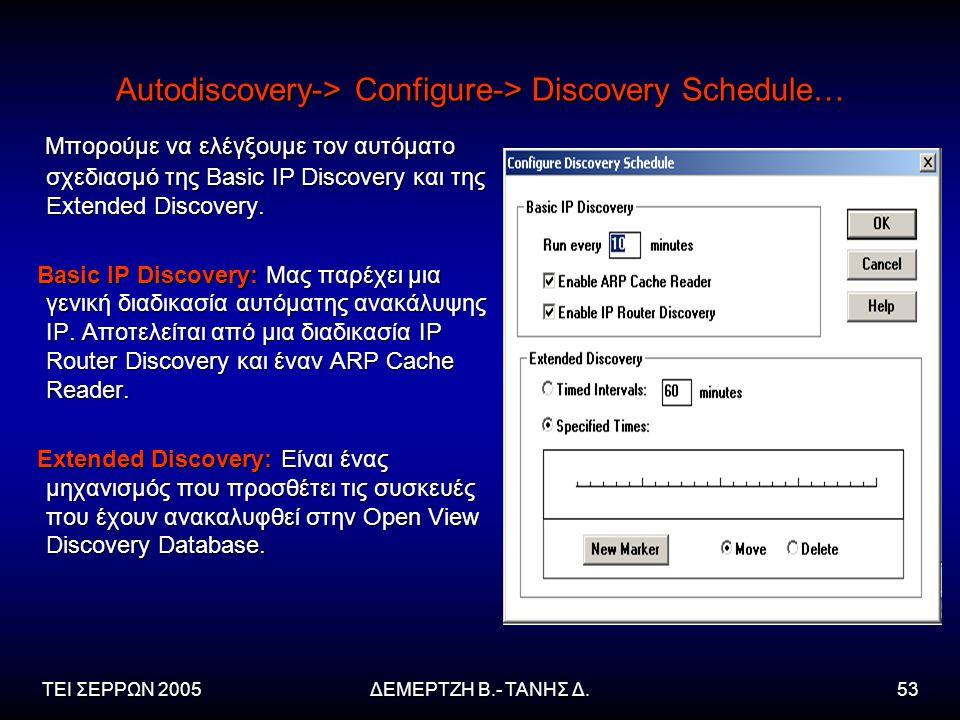 ΤΕΙ ΣΕΡΡΩΝ 2005ΔΕΜΕΡΤΖΗ Β.- ΤΑΝΗΣ Δ.53 Autodiscovery-> Configure-> Discovery Schedule… Μπορούμε να ελέγξουμε τον αυτόματο σχεδιασμό της Basic IP Discovery και της Extended Discovery.