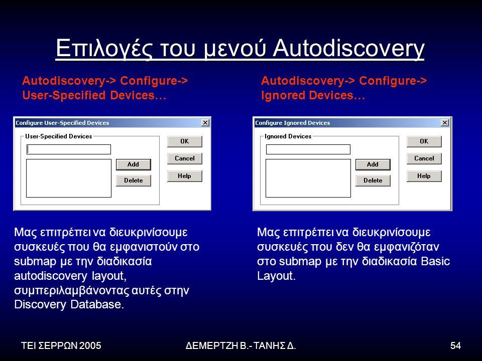 ΤΕΙ ΣΕΡΡΩΝ 2005ΔΕΜΕΡΤΖΗ Β.- ΤΑΝΗΣ Δ.54 Επιλογές του μενού Autodiscovery Autodiscovery-> Configure-> User-Specified Devices… Autodiscovery-> Configure-> Ignored Devices… Μας επιτρέπει να διευκρινίσουμε συσκευές που θα εμφανιστούν στο submap με την διαδικασία autodiscovery layout, συμπεριλαμβάνοντας αυτές στην Discovery Database.