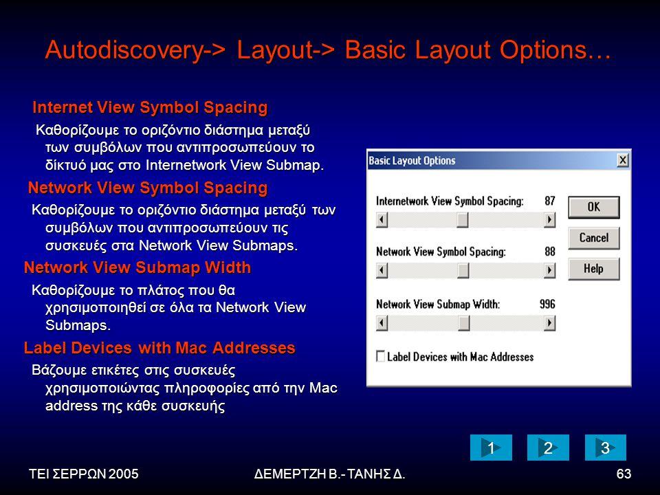 ΤΕΙ ΣΕΡΡΩΝ 2005ΔΕΜΕΡΤΖΗ Β.- ΤΑΝΗΣ Δ.63 Autodiscovery-> Layout-> Basic Layout Options… Internet View Symbol Spacing Internet View Symbol Spacing Καθορίζουμε το οριζόντιο διάστημα μεταξύ των συμβόλων που αντιπροσωπεύουν το δίκτυό μας στο Internetwork View Submap.