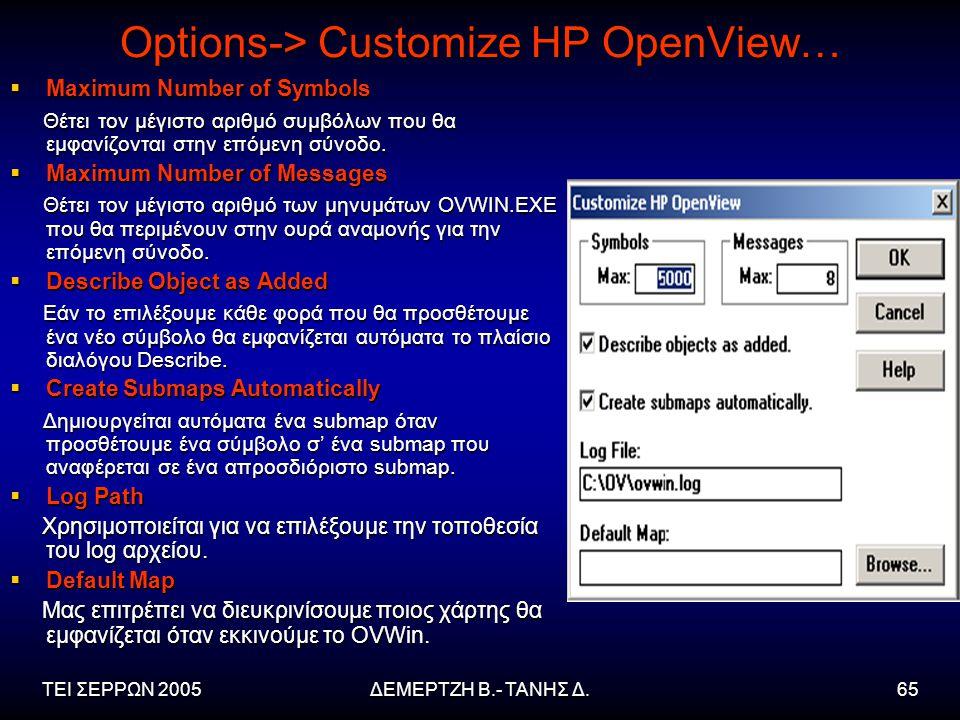 ΤΕΙ ΣΕΡΡΩΝ 2005ΔΕΜΕΡΤΖΗ Β.- ΤΑΝΗΣ Δ.65 Options-> Customize HP OpenView…  Maximum Number of Symbols Θέτει τον μέγιστο αριθμό συμβόλων που θα εμφανίζονται στην επόμενη σύνοδο.