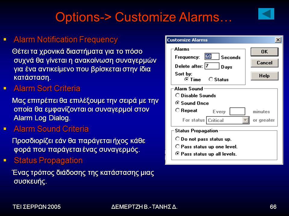 ΤΕΙ ΣΕΡΡΩΝ 2005ΔΕΜΕΡΤΖΗ Β.- ΤΑΝΗΣ Δ.66 Options-> Customize Alarms…  Alarm Notification Frequency Θέτει τα χρονικά διαστήματα για το πόσο συχνά θα γίνεται η ανακοίνωση συναγερμών για ένα αντικείμενο που βρίσκεται στην ίδια κατάσταση.