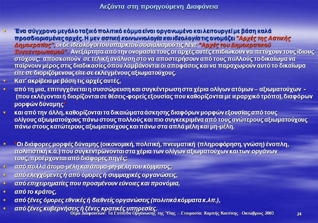Θέμα Διαφανειών: Τα Επίπεδα Οργάνωσης της Ύλης -- Ετοιμασία: Χαμπής Κιατίπης - Οκτώβριος 2003 24 Λεζάντα στη προηγούμενη Διαφάνεια  Ένα σύγχρονο μεγά