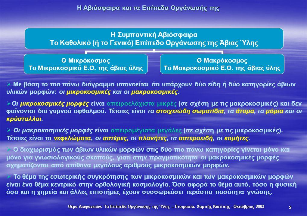 Θέμα Διαφανειών: Τα Επίπεδα Οργάνωσης της Ύλης -- Ετοιμασία: Χαμπής Κιατίπης - Οκτώβριος 2003 5 Η Αβιόσφαιρα και τα Επίπεδα Οργάνωσής της Η Συμπαντική