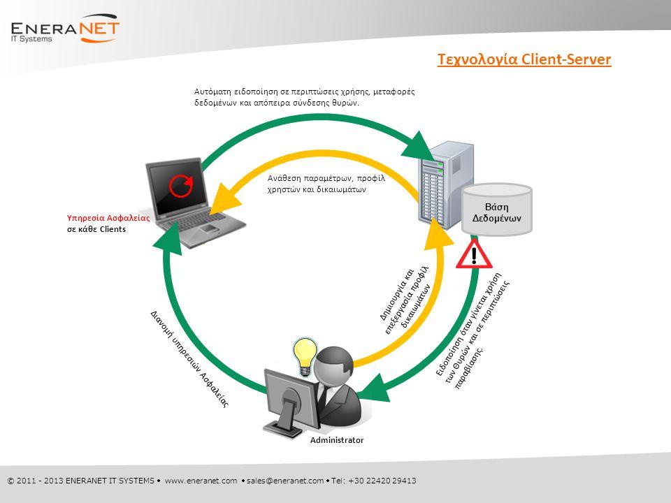 © 2011 - 2013 ENERANET IT SYSTEMS  www.eneranet.com  sales@eneranet.com  Tel: +30 22420 29413 Τεχνολογία Client-Server Υπηρεσία Ασφαλείας σε κάθε Clients Δημιουργία και επεξεργασία προφίλ δικαιωμάτων Βάση Δεδομένων Αυτόματη ειδοποίηση σε περιπτώσεις χρήσης, μεταφορές δεδομένων και απόπειρα σύνδεσης θυρών.