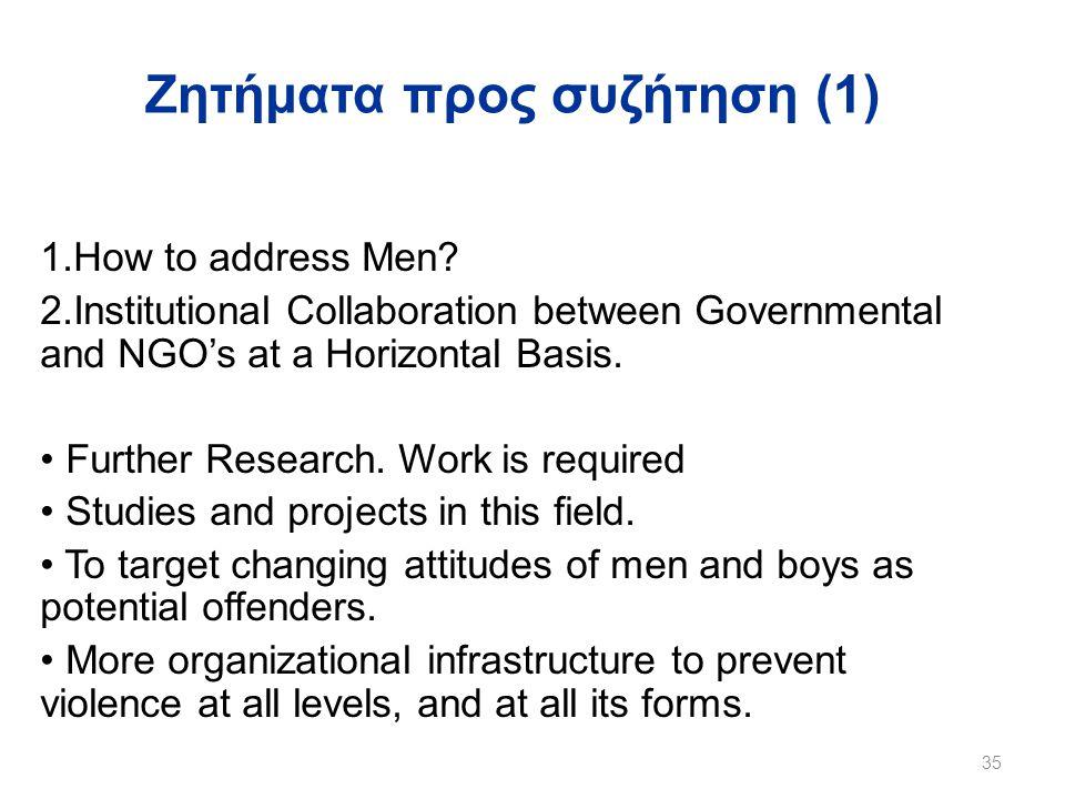 Ζητήματα προς συζήτηση (1) 1.How to address Men.