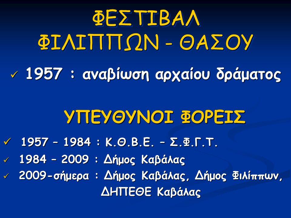 ΦΕΣΤΙΒΑΛ ΦΙΛΙΠΠΩΝ - ΘΑΣΟΥ  1957 : αναβίωση αρχαίου δράματος ΥΠΕΥΘΥΝΟΙ ΦΟΡΕΙΣ ΥΠΕΥΘΥΝΟΙ ΦΟΡΕΙΣ  1957 – 1984 : Κ.Θ.Β.Ε. – Σ.Φ.Γ.Τ.  1984 – 2009 : Δήμ