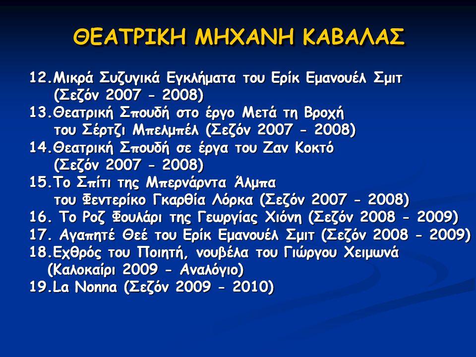 ΘΕΑΤΡΙΚΗ ΜΗΧΑΝΗ ΚΑΒΑΛΑΣ 12.Μικρά Συζυγικά Εγκλήματα του Ερίκ Εμανουέλ Σμιτ (Σεζόν 2007 - 2008) 13.Θεατρική Σπουδή στο έργο Μετά τη Βροχή (Σεζόν 2007 -