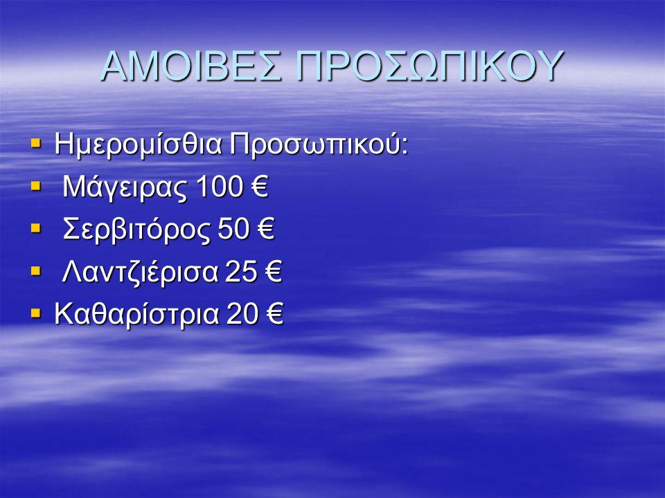 ΑΜΟΙΒΕΣ ΠΡΟΣΩΠΙΚΟΥ  Ημερομίσθια Προσωπικού:  Μάγειρας 100 €  Σερβιτόρος 50 €  Λαντζιέρισα 25 €  Καθαρίστρια 20 €