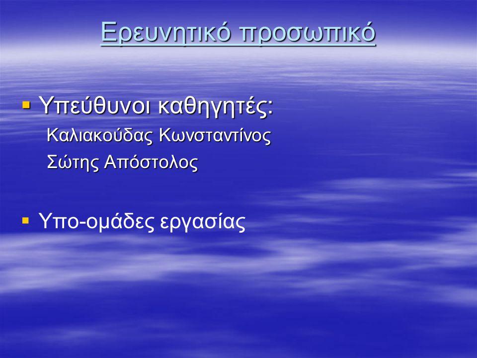 Ερευνητικό προσωπικό  Υπεύθυνοι καθηγητές: Καλιακούδας Κωνσταντίνος Καλιακούδας Κωνσταντίνος Σώτης Απόστολος Σώτης Απόστολος   Υπο-ομάδες εργασίας